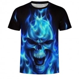 Tričko Skull in Flames blue